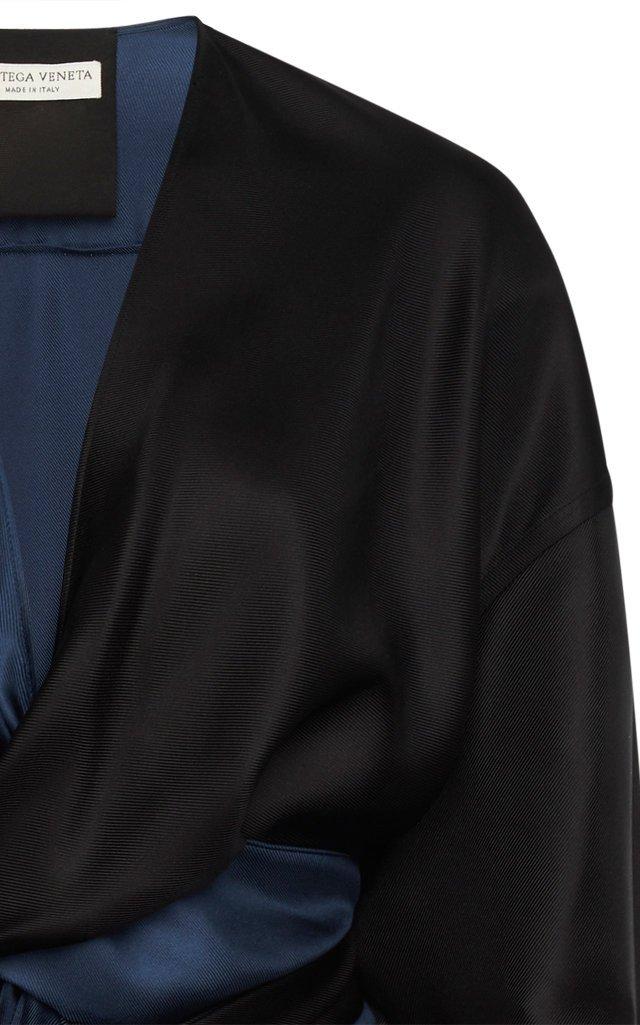 Two-Tone Silk-Twill Midi Wrap Dress