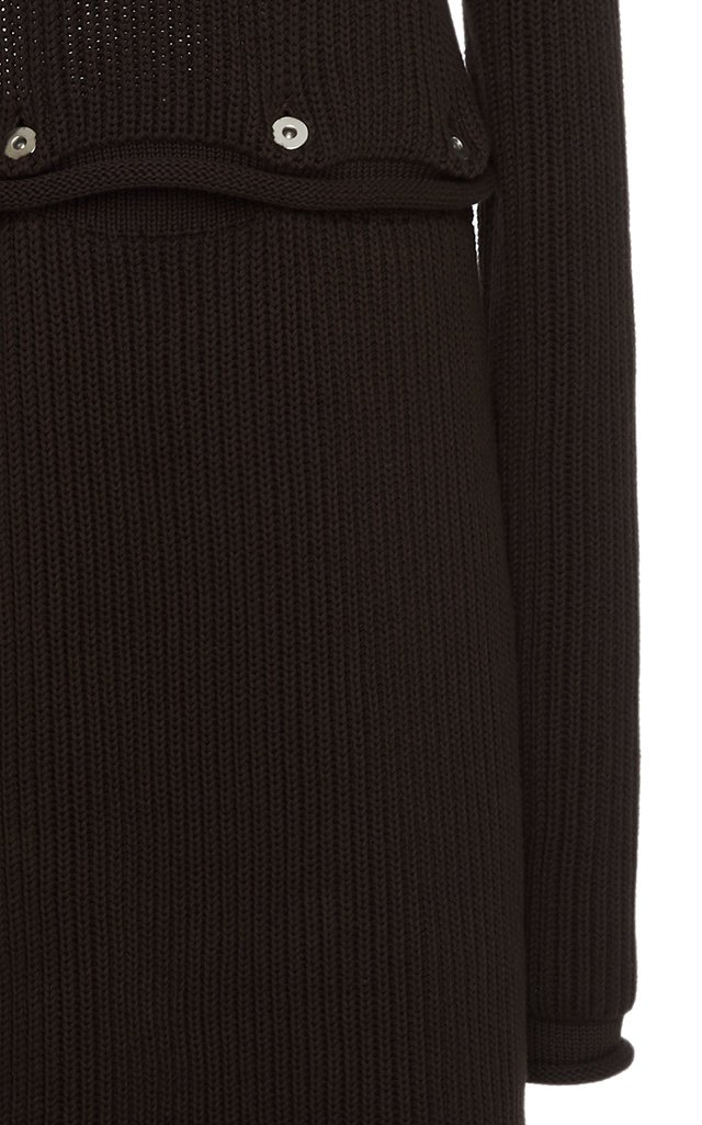 Backless Ribbed Cotton Midi Dress