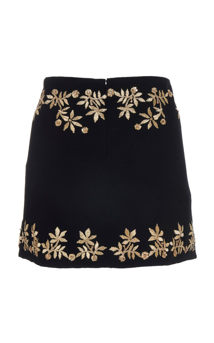 Embroidered A-Line Mini Skirt
