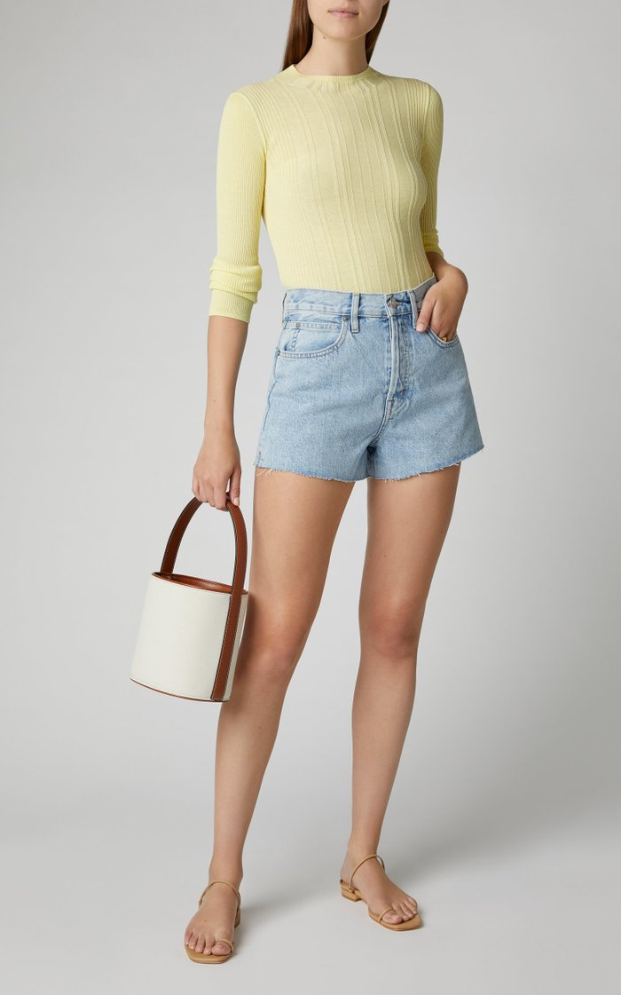 Farrah Stretch-Denim Mini Shorts