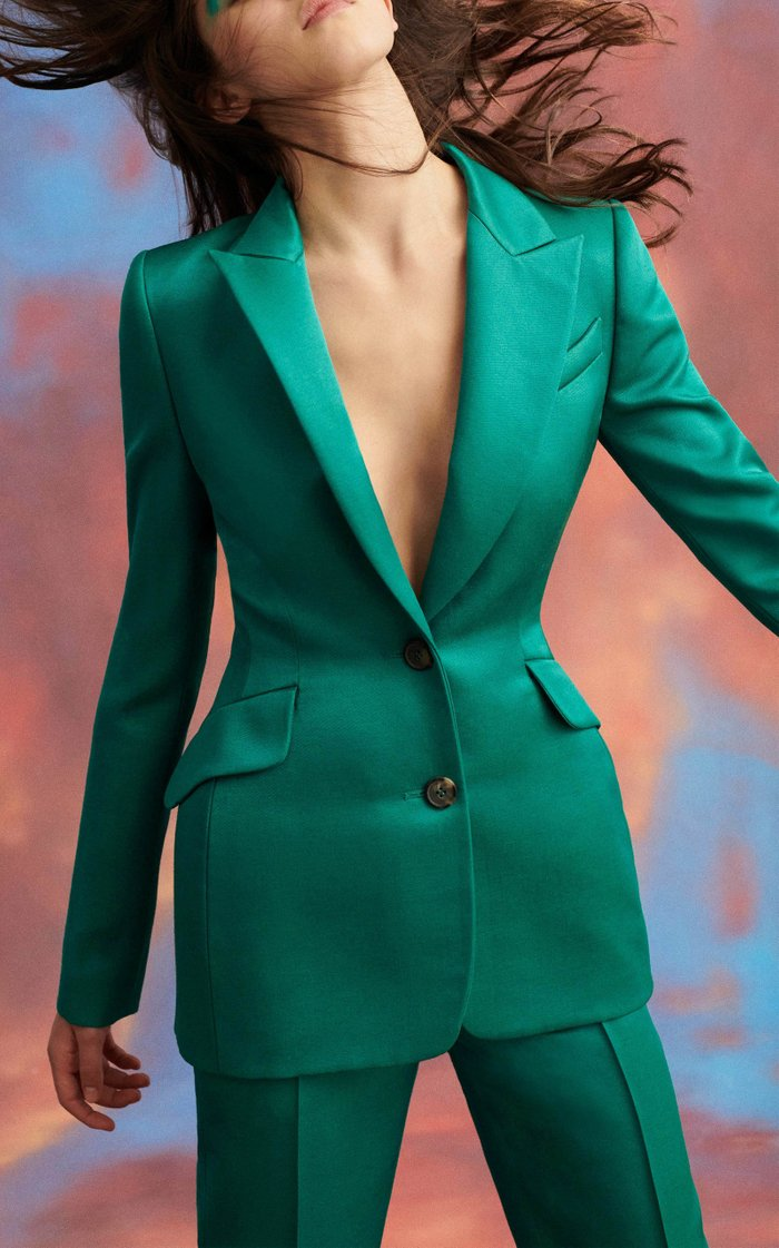 Single Breasted Fitted Satin Blazer