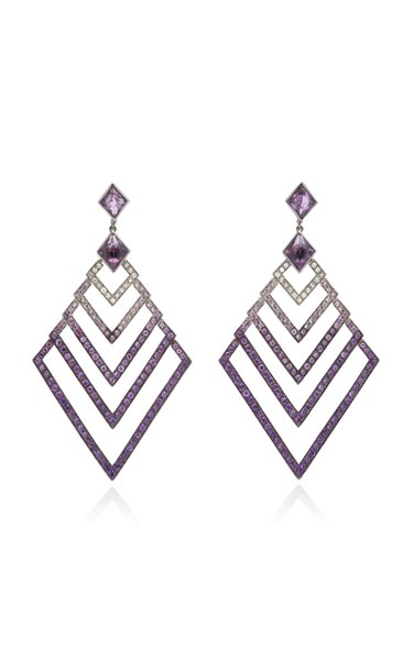 Black Rhodium-Plated Silver, Amethyst And Sapphire Earrings