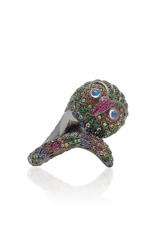 Black Rhodium-Plated Silver And Multi-Stone Ring