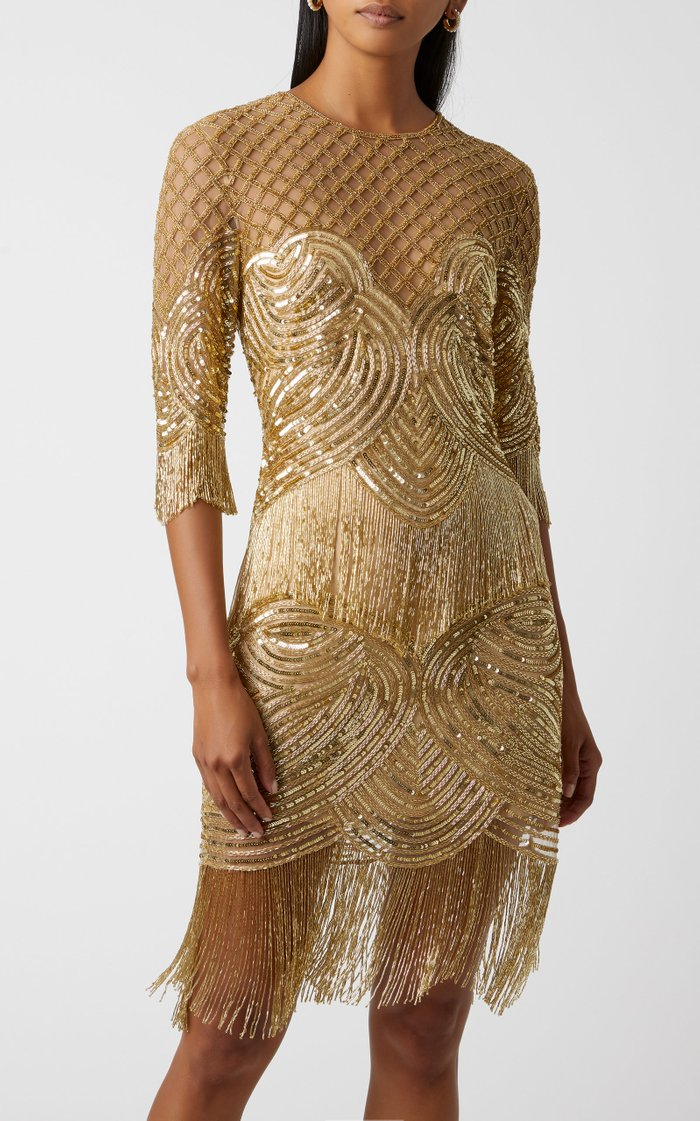 Sequined Fringed Tulle Mini Dress