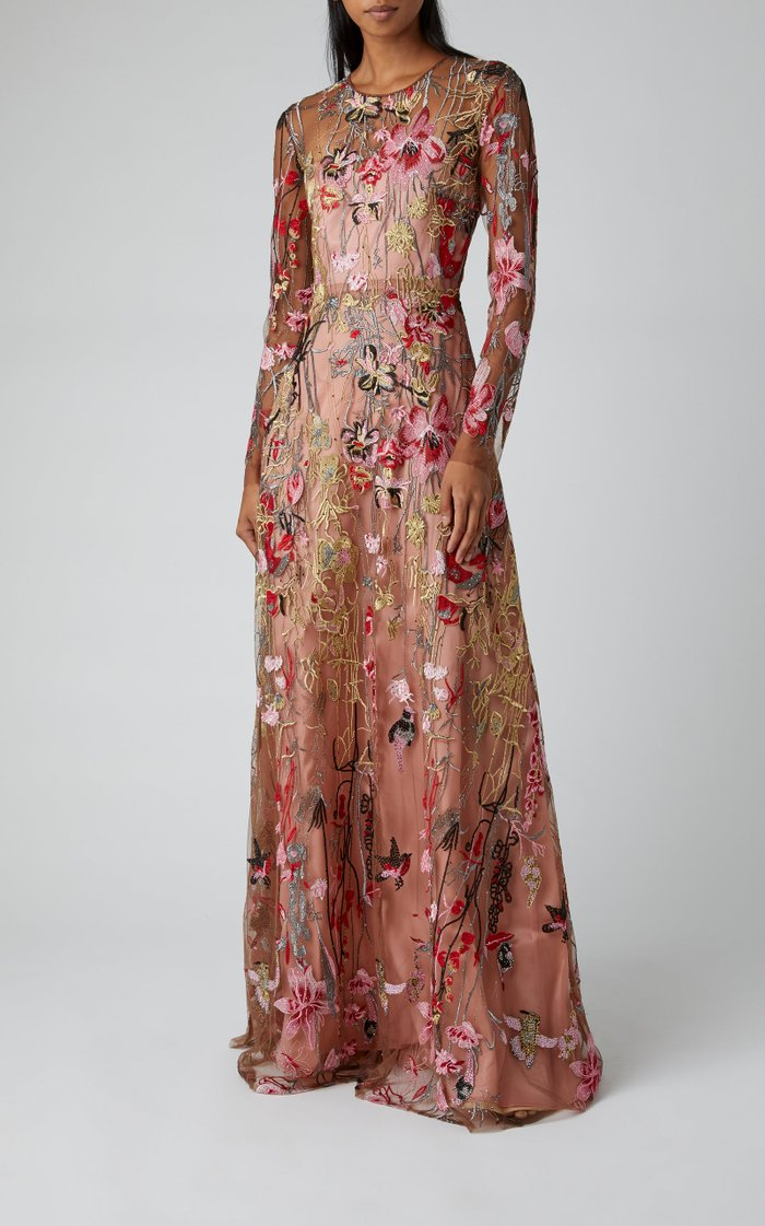 Multicolor Floral Embroidered Gown