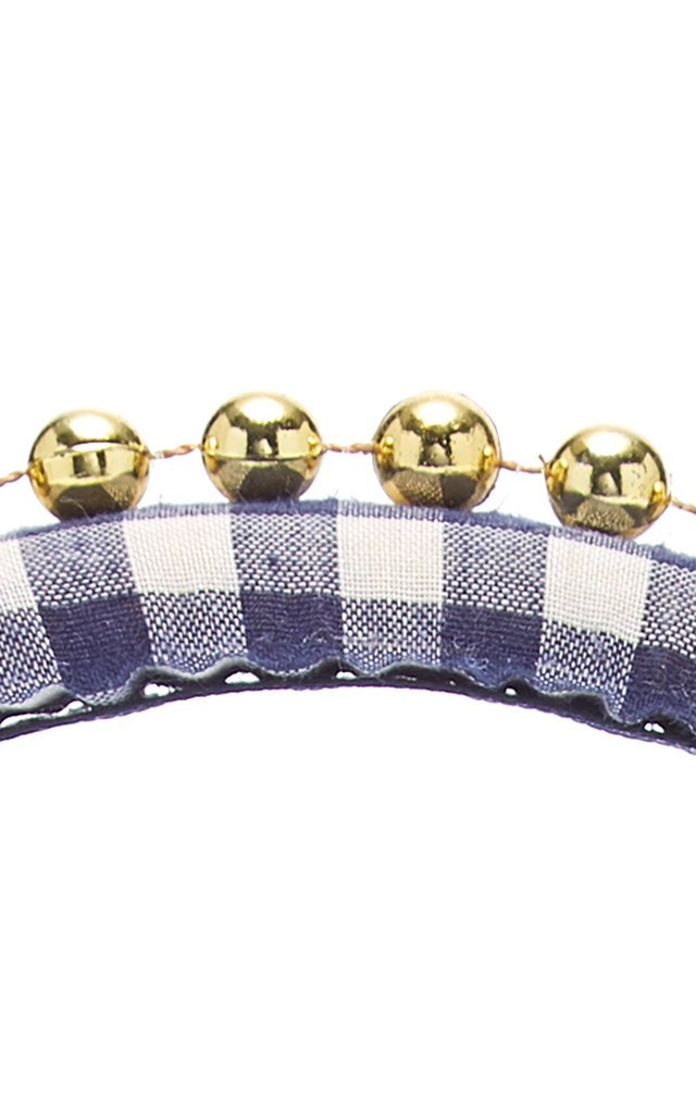 Beaded Gingham Cotton Headband