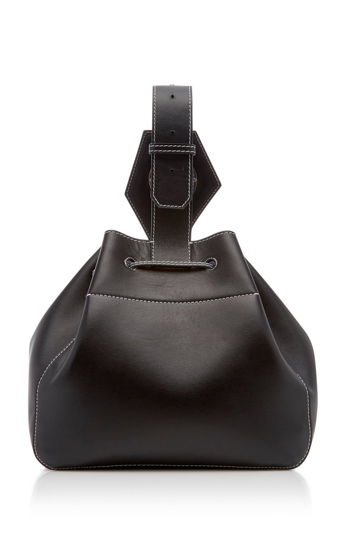 Mini Leather Drawstring Bag