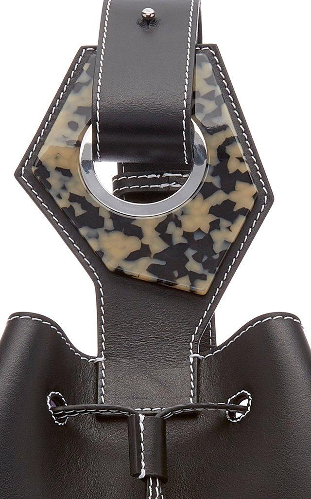 Mini Leather Drawstring Bag