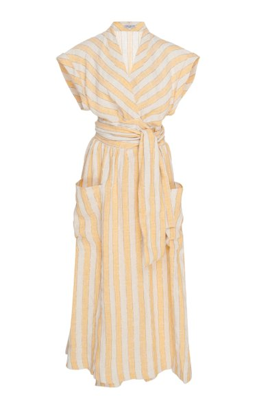 Clarissa Striped Linen-Blend Midi Wrap Dress
