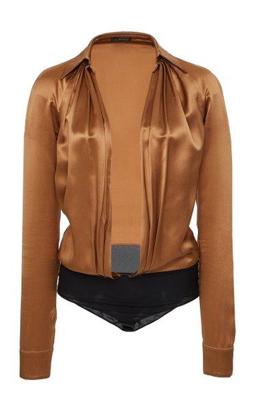 Plunging Silk Bodysuit