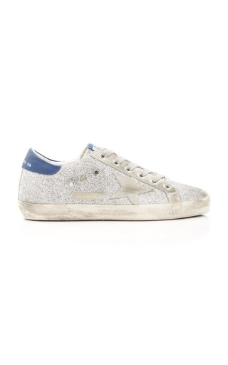 Superstar Glittered Distressed Leather And Suede Sneakers