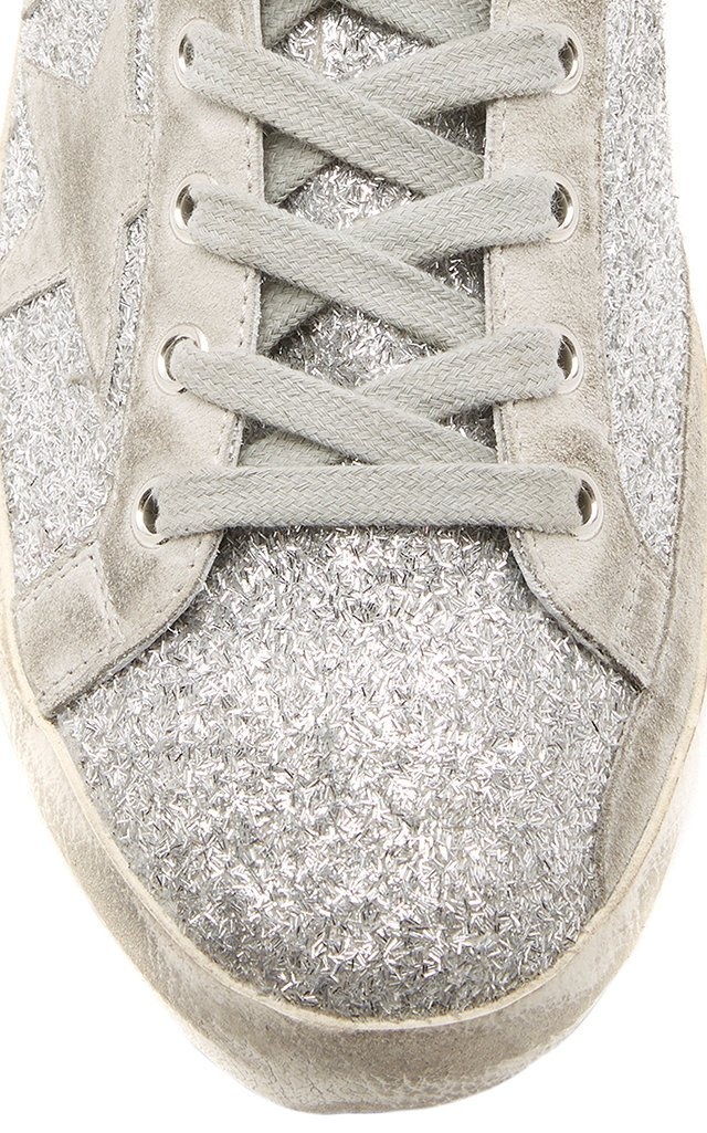 superstar distressed leather and suede sneakers