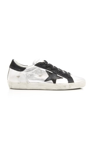 Superstar Distressed Two-Tone Leather And Suede Sneakers