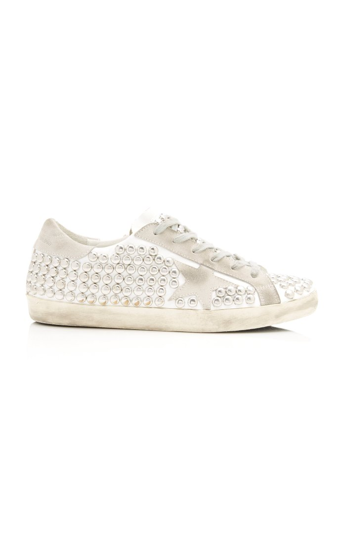 Superstar Distressed Studded Suede And Leather Sneakers