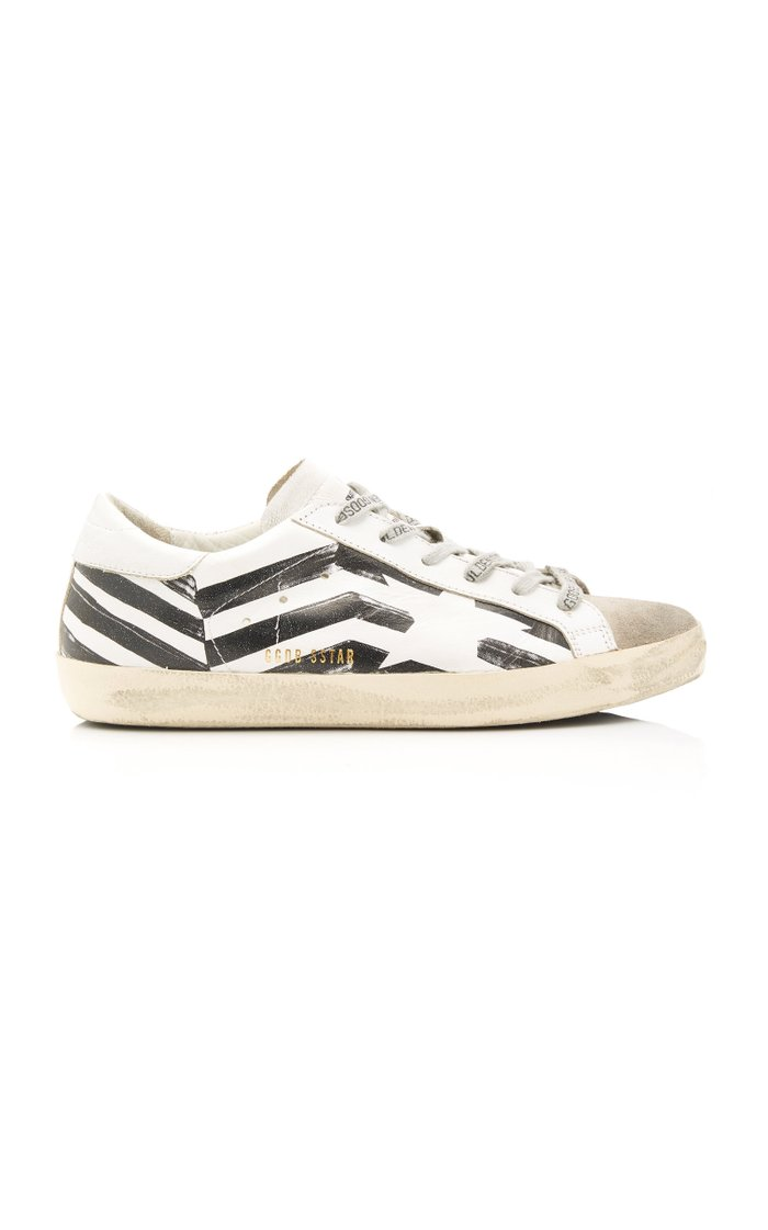 Superstar Striped Leather And Suede Sneakers