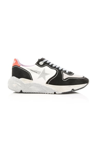 Running Sole Glittered Leather And Neoprene Sneakers