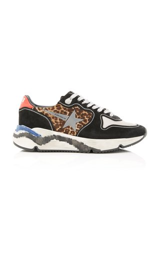 Running Sole Printed Calf Hair, Leather And Mesh Sneakers