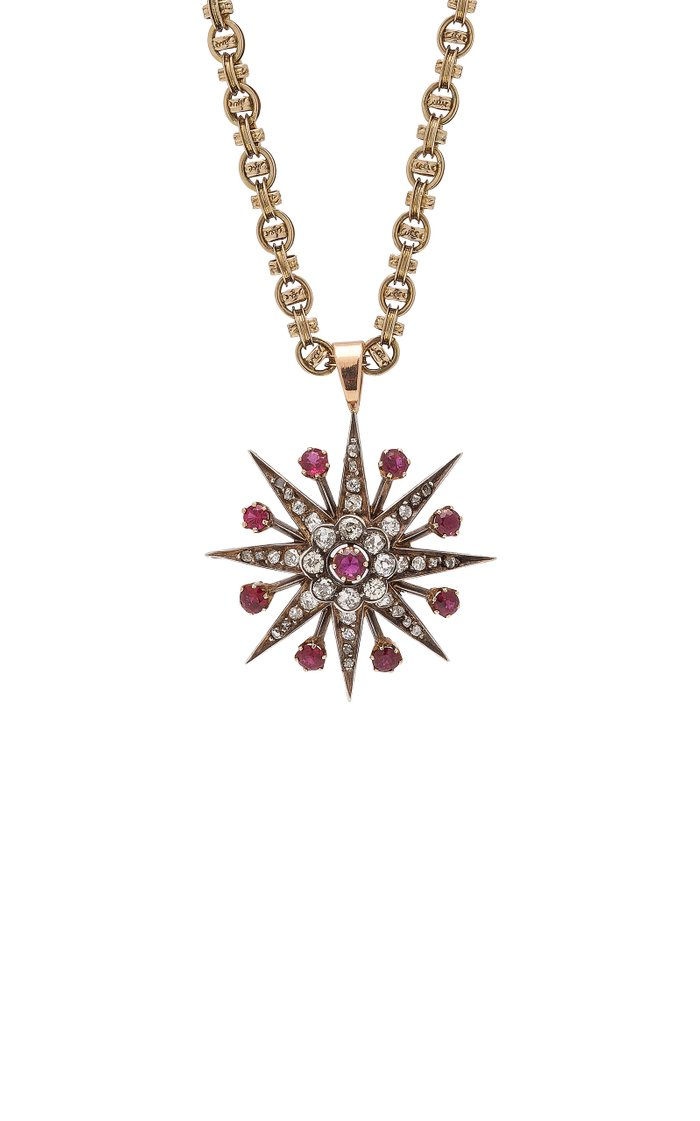 Evelyn One-Of-A-Kind Antique Gold Diamond And Ruby Necklace