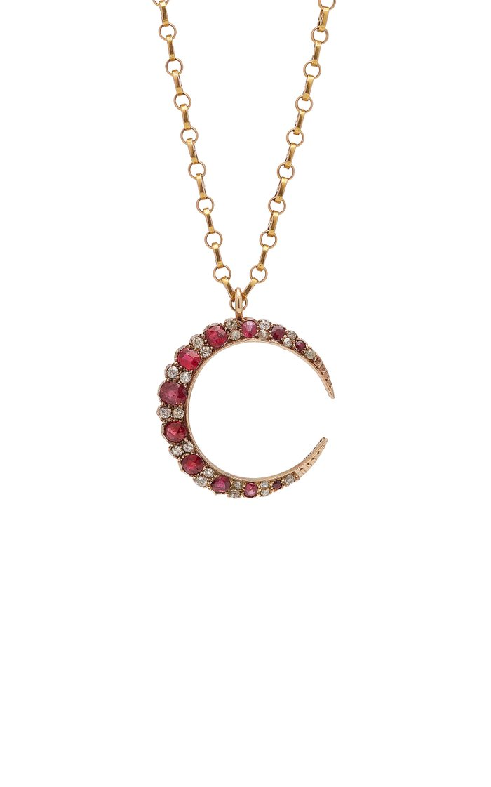 Lilly One-Of-A-Kind Antique Gold, Spinel And Diamond Necklace