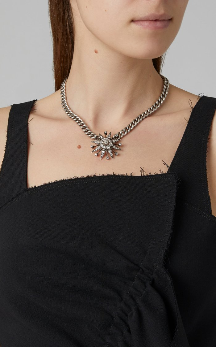 Anne Marie One-Of-A-Kind Antique Silver Diamond Necklace