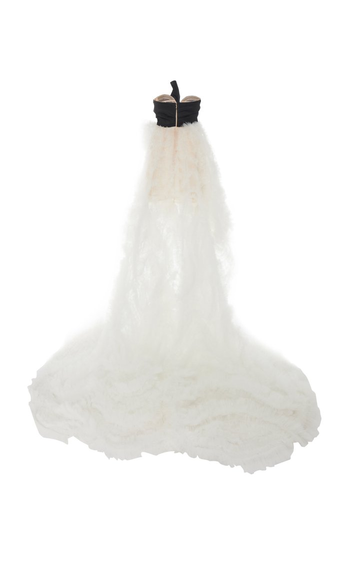 Strapless Bow-Embellished Silk-Faille and Tulle Gown