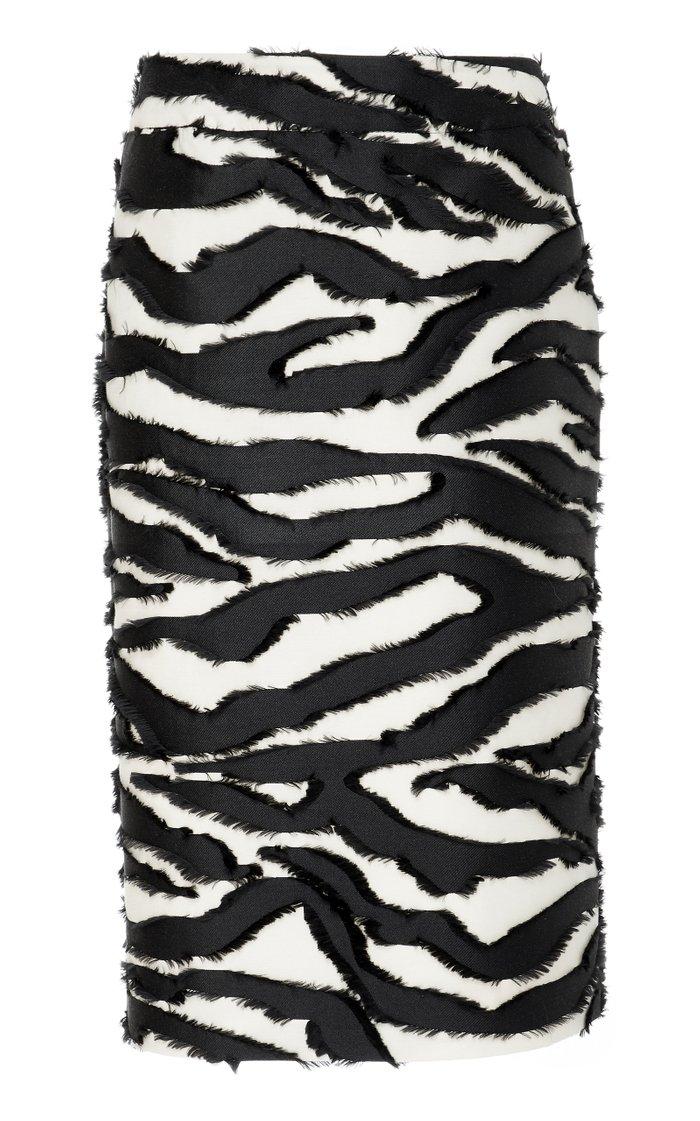 Zebra-Print Silk Fil Coupé Midi Skirt