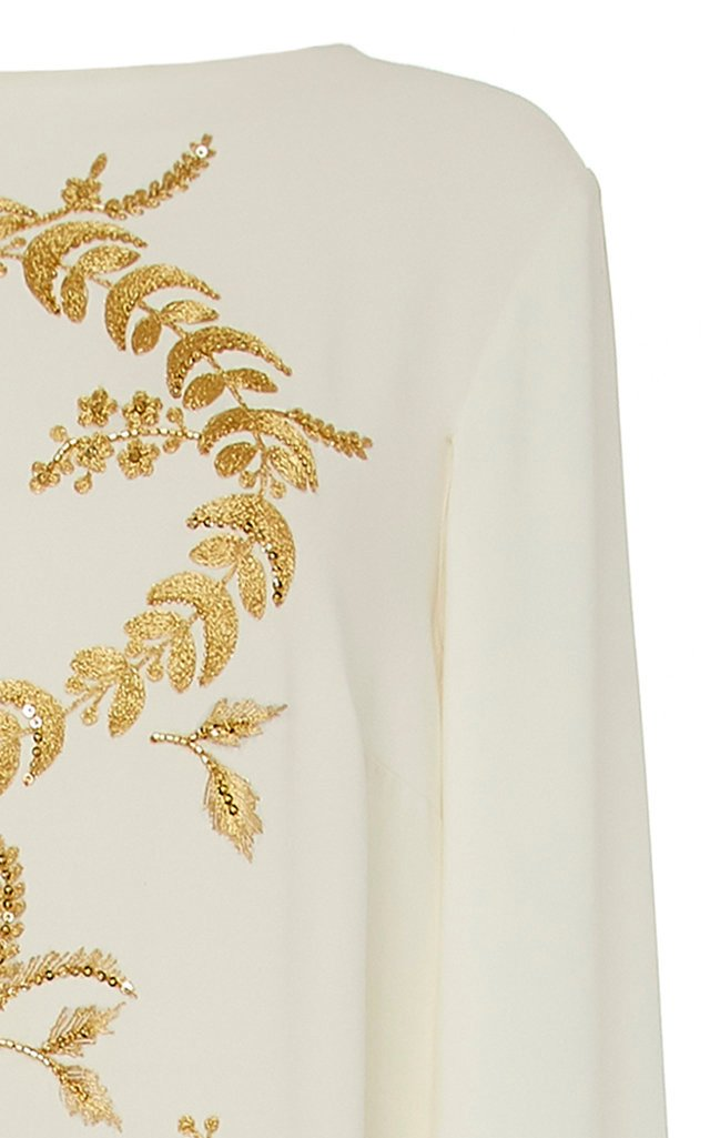 Cape-Effect Embroidered Silk-Blend Gown