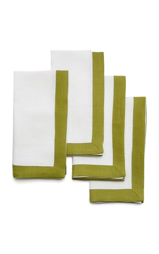 Set-Of-Four Two-Tone Linen Napkins