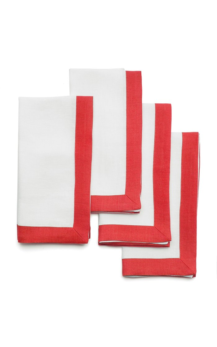 Set-Of-Four Two-Tone Linen Napkins