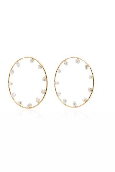 Gold-Plated Baroque Pearl 70 Hoop Earrings