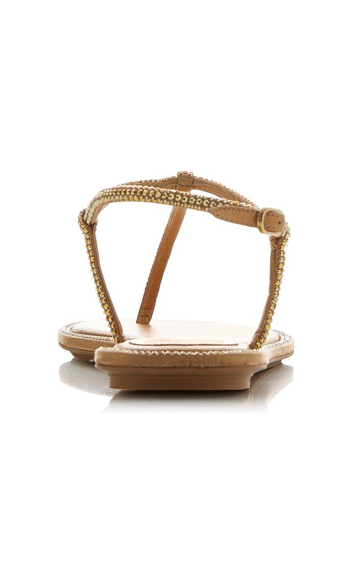 Crystal-Embellished Satin Sandals