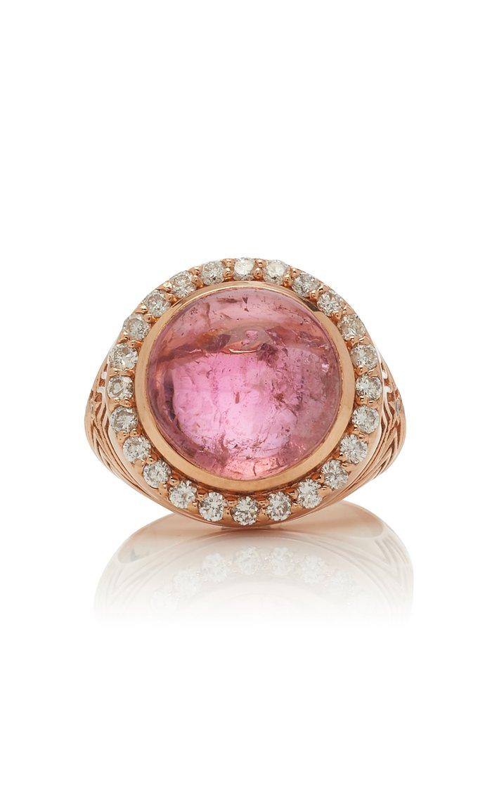 14K Rose Gold, Tourmaline And Diamond Ring