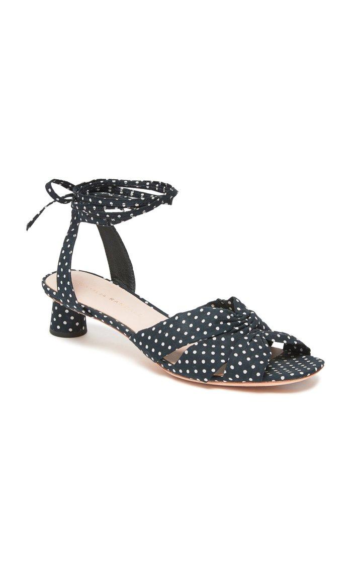 Leia Polka-Dot Cotton Sandals