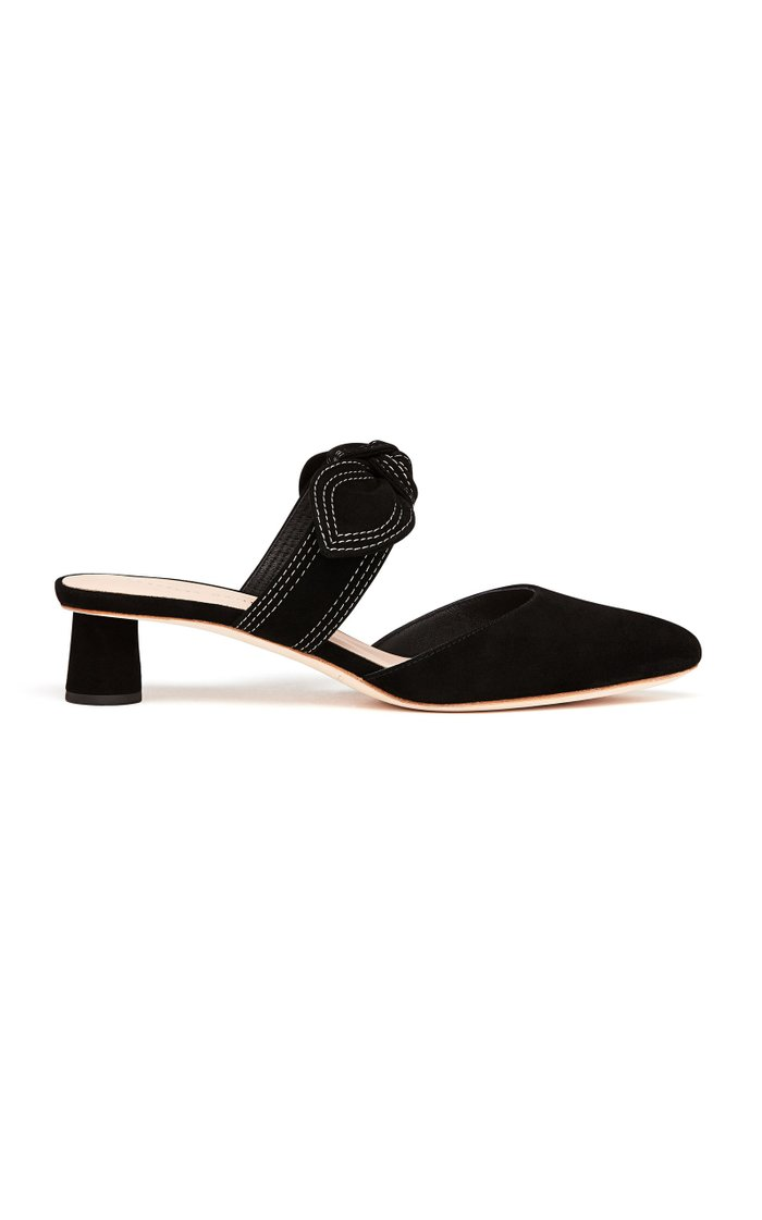Maria Bow Suede Mules