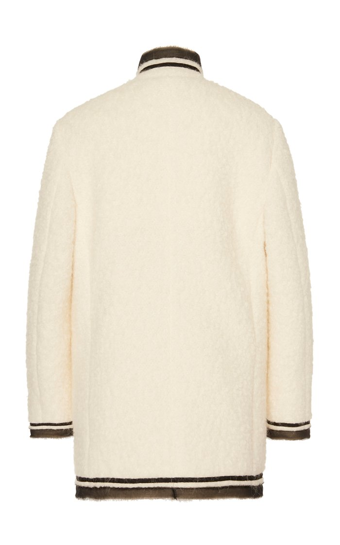 Logo-Detailed Organza-Trimmed Boucle Jacket