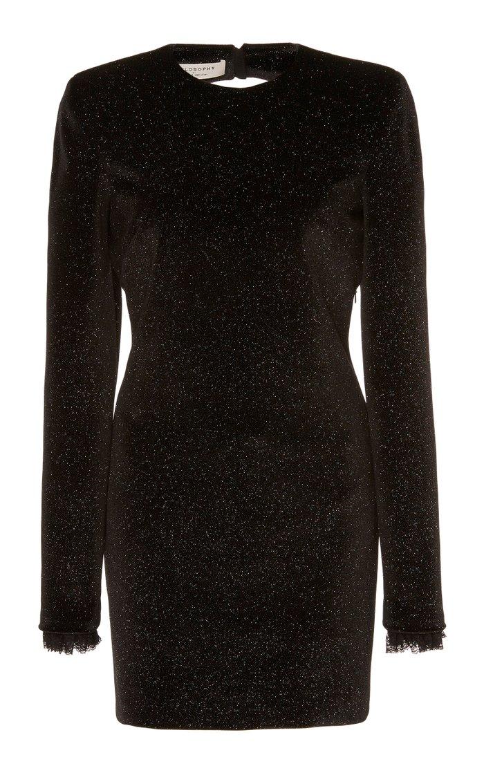 Glittered Lace-Trimmed Velvet Mini Dress