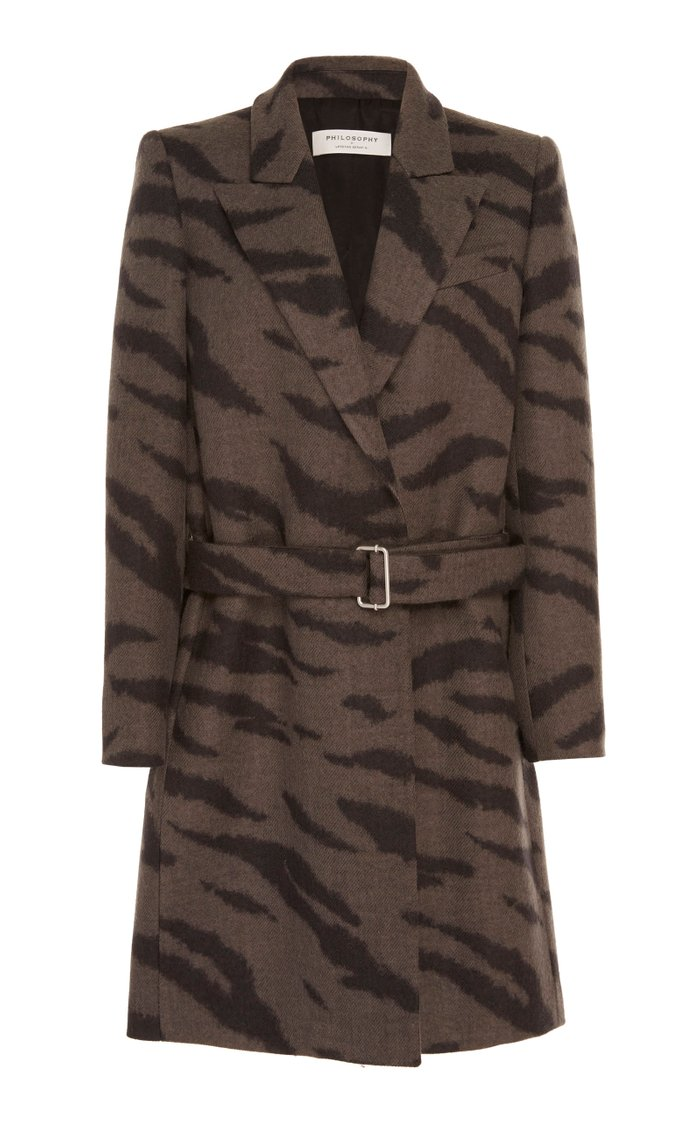 Zebra-Print Wool Coat