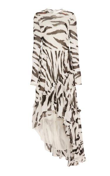 Zebra-Print Georgette High-Low Dress