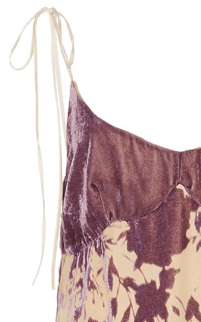 Floral-Print Devoré Slip Maxi Dress