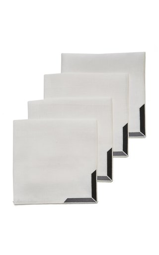 Set-Of-Four Triangu Linen Napkins