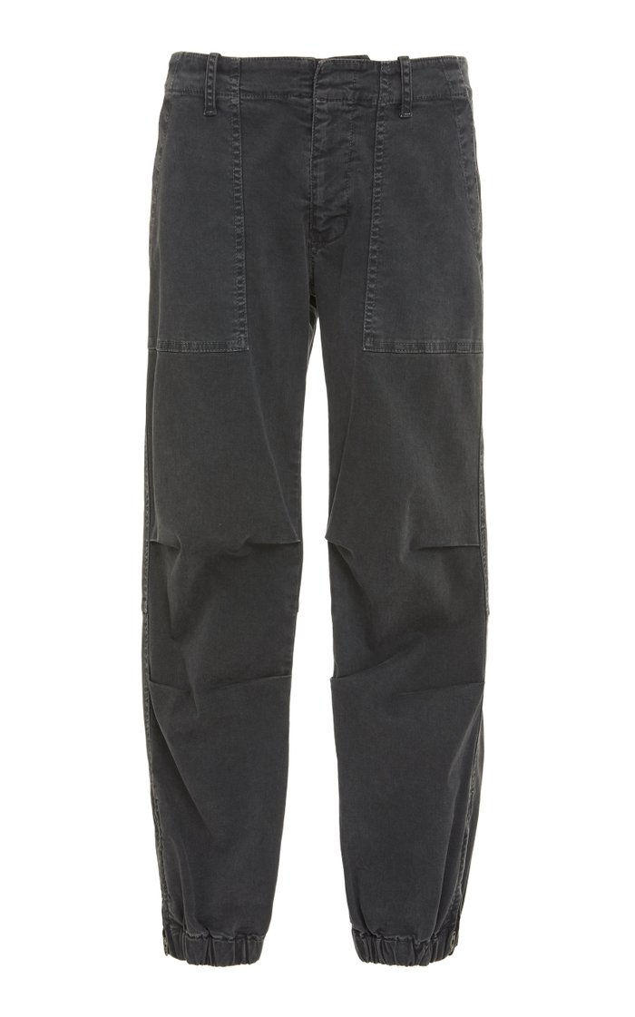 Cropped Cotton-Blend Military Pants