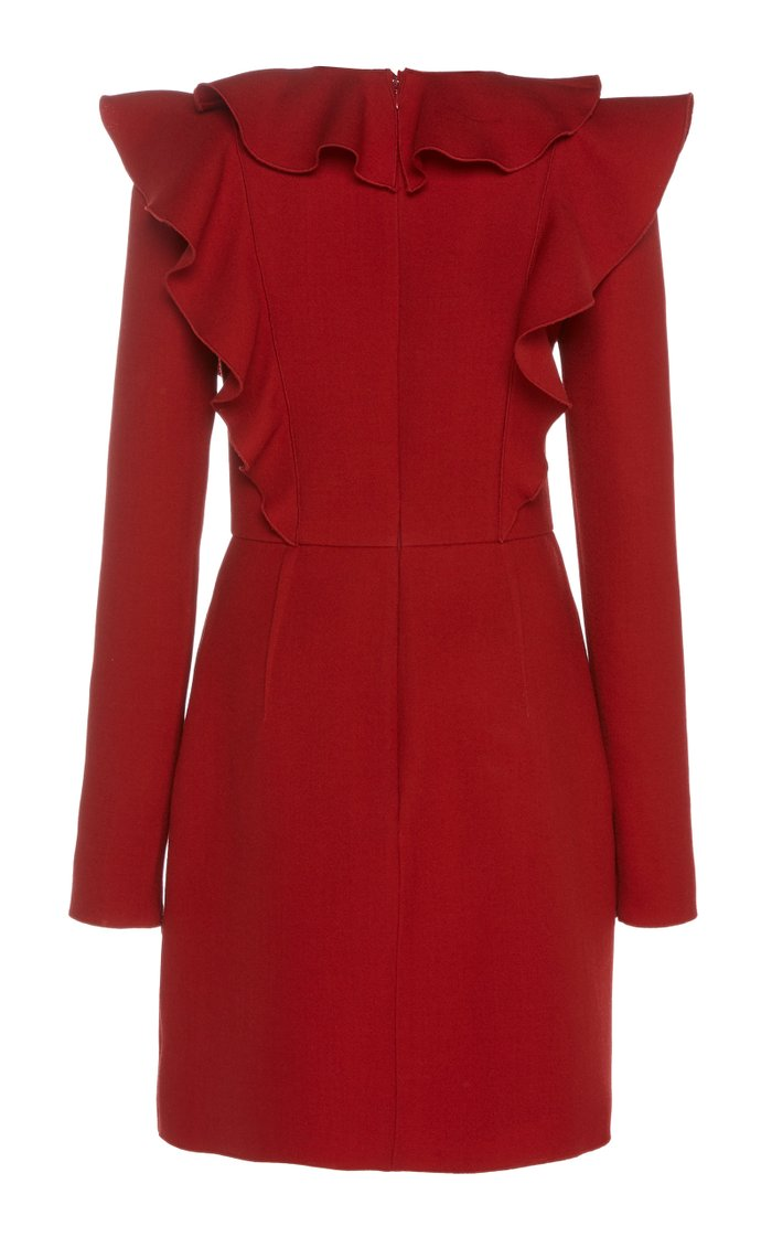 Ruffled Wool Mini Dress