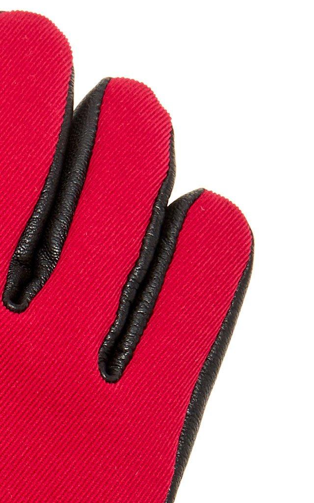 3 Moncler Grenoble Lambskin Paneled Ski Gloves