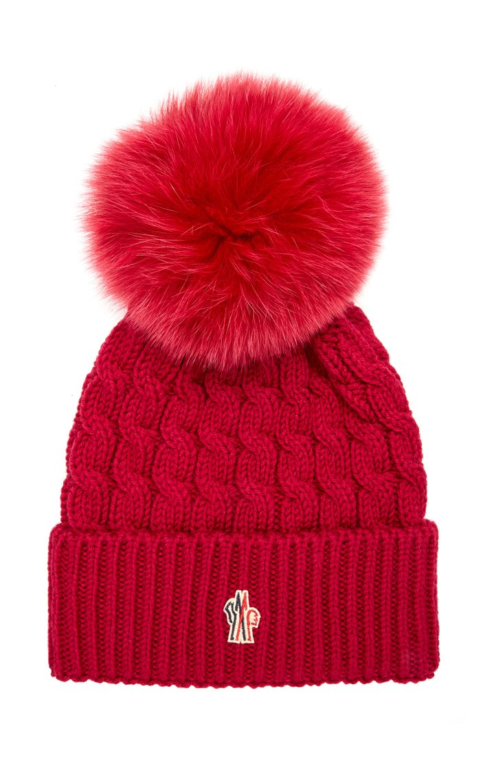 Knitted Cashmere and Wool Pom Hat