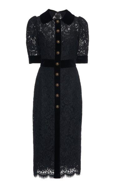 Cotton-Blend Guipure Lace Midi Dress