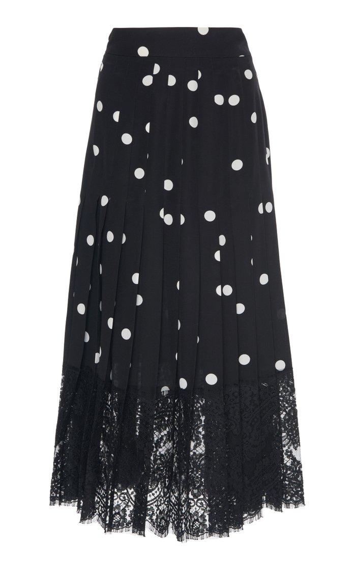 Lace-Trimmed Polka-Dot Silk-Blend Midi Skirt