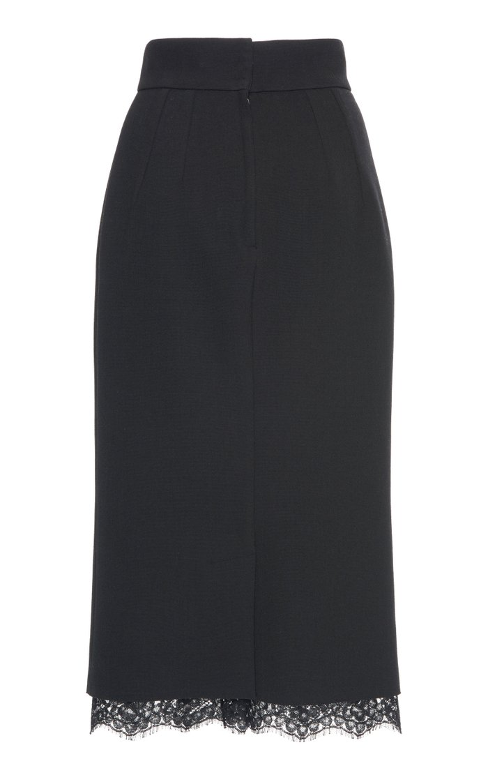 Lace-Trimmed Crepe Midi Skirt