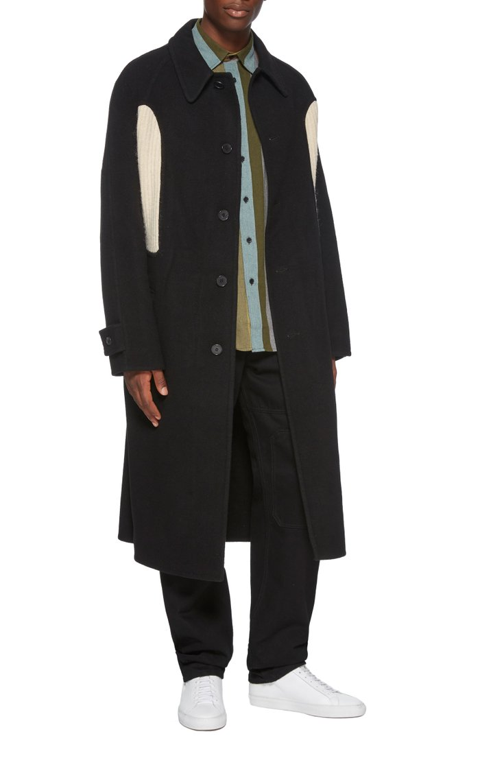 Belted Cashmere-Paneled Wool-Crepe Coat