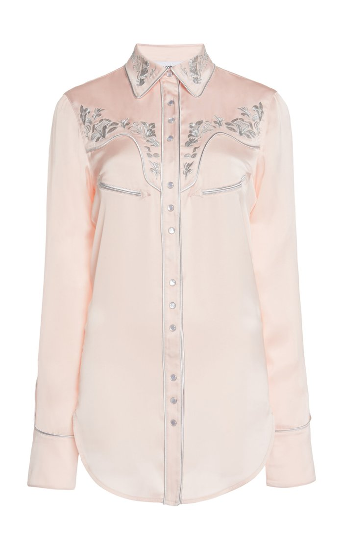 Embroidered Satin Button Down Shirt