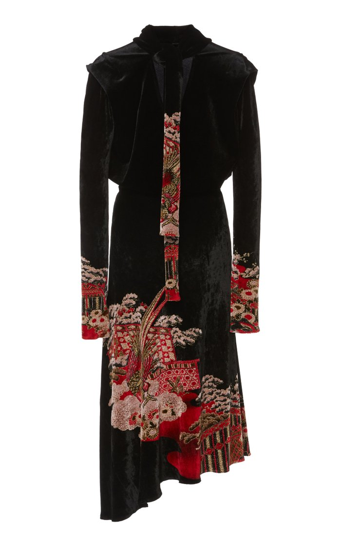 Asymmetric Lurex-Embroidered Velvet Dress